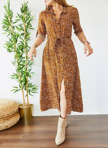 XHAN Desenli Gömlek Elbise 0Yxk6-43381-18 Kahve